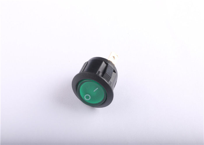 Green LED Light Small Rocker Switch With 10000 Cycles Electrical Life